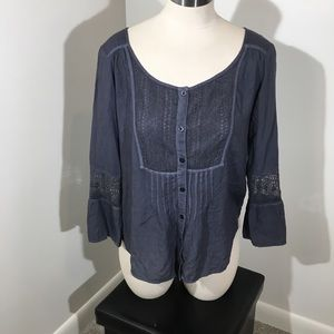 AEO Blouse Lace Bell Sleeve Boho Top
